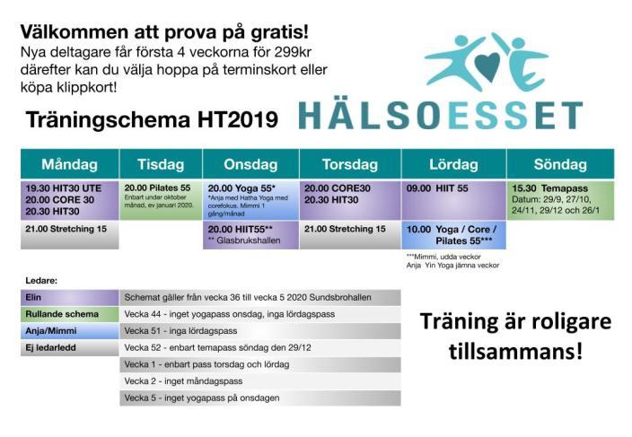 HälsoESSet träningsschema HT2019_pilates